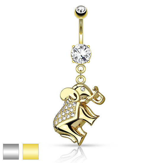LUCKY ELEPHANT DANGLE NAVEL BELLY RING