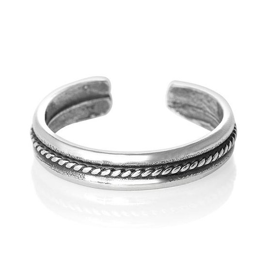 925 solid sterling silver rope toe midi ring