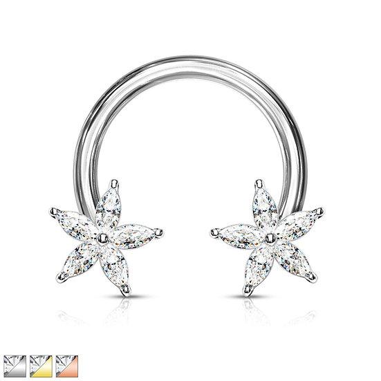 Diamond Flower Septum Horseshoe Ring