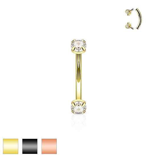 DOUBLE DIAMOND EYEBROW BAR BARBELL RING