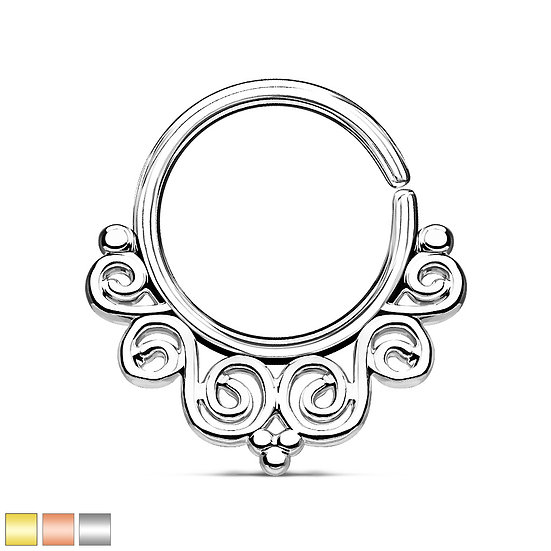 BEAUTIFUL FILIGREE SEAMLESS HOOP EAR SEPTUM RING