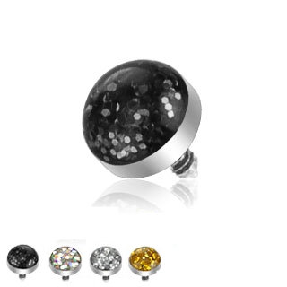 4mm Glitter Dome Dermal Piercing Implant Top