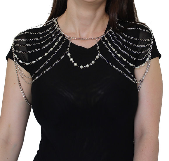 SILVER PEARL SHOULDER BODY CHAIN