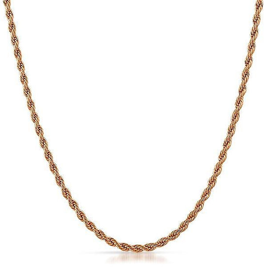 ROSE GOLD ROPE CHAIN MENS WOMENS NECKLACE