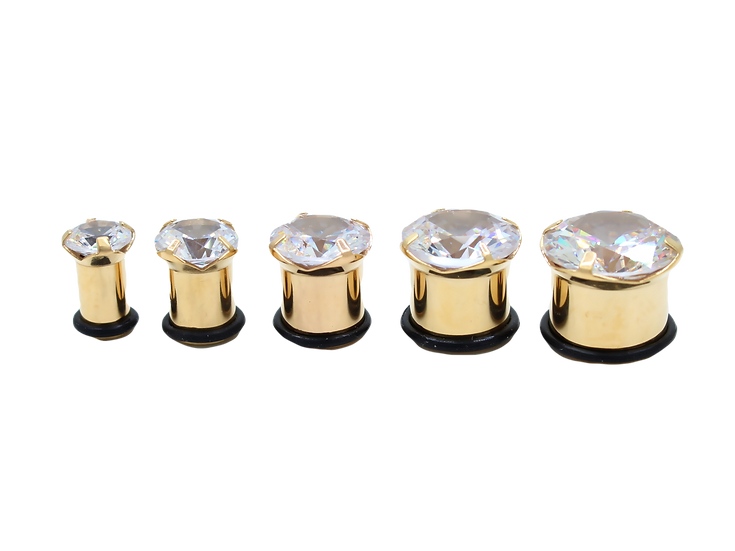 Large Diamond 14k Yellow Gold Tunnel Spacer
