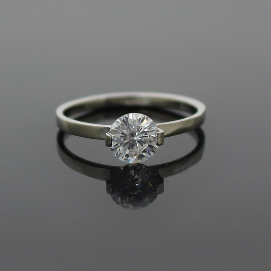 Silver Stainless Steel Simulated Diamond Engagement Ring