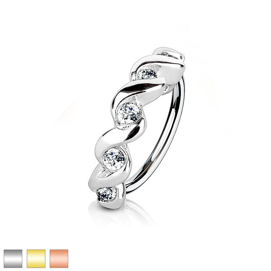 DIAMONDS TWISTED ANNEALED BENDABLE HOOP SEPTUM NOSE RING
