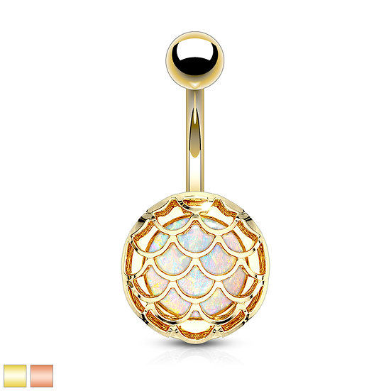GOLD ROUND MERMAID SCALE GLITTER OPAL BELLY NAVEL RING