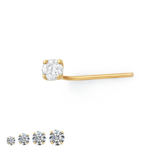 9K YELLOW GOLD L SHAPED BEND BENT NOSE PIN STUD