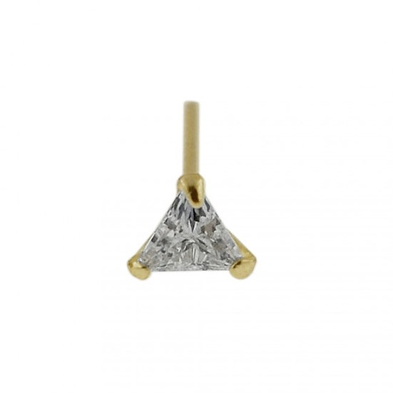 Real Yellow Gold Triangle Nose Stud