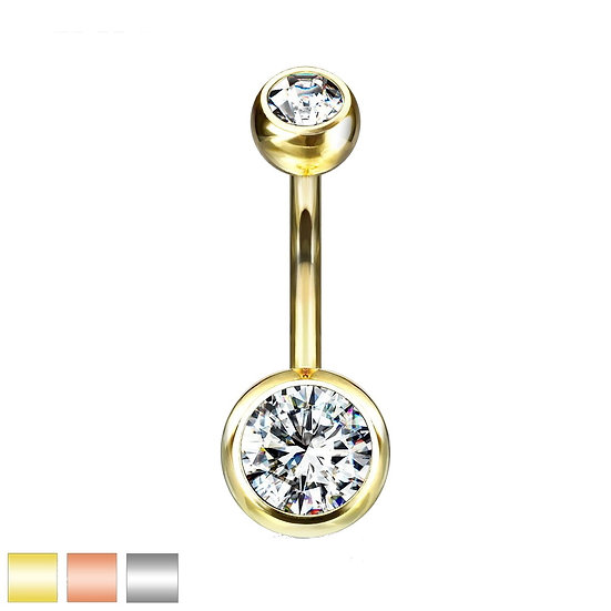 Clear Double Cubic Zirconia Jewelled Belly Navel Ring