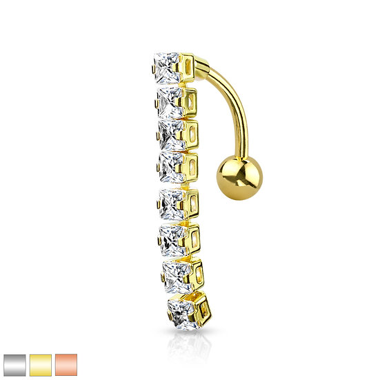 Square Diamond Line Belly Ring