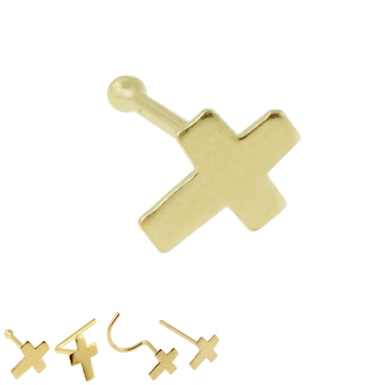 Solid 14k Yellow Gold Cross Nose Piercing Stud