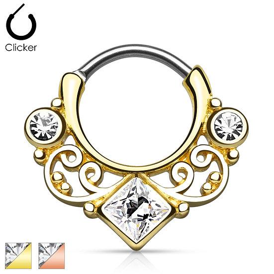 14K GOLD DIAMOND CLICKER SEPTUM RING