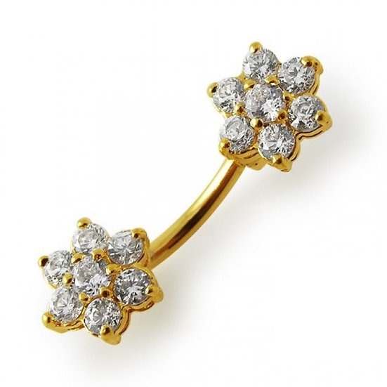 GOLD TWIN FLOWER CUBIC ZIRCONIA BELLY NAVEL RING