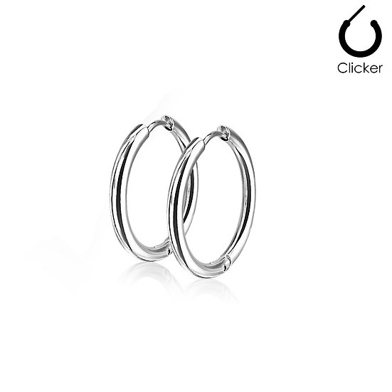 SILVER ROUND CIRCLE HOOP MENS WOMENS EARRINGS