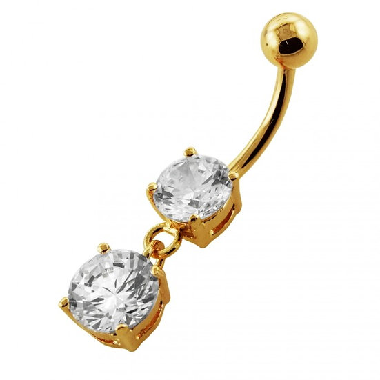 YELLOW GOLD DOUBLE DIAMOND DANGLE BELLY BUTTON NAVEL RING
