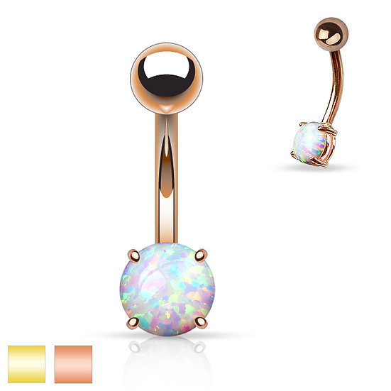Round Opal Belly Ring