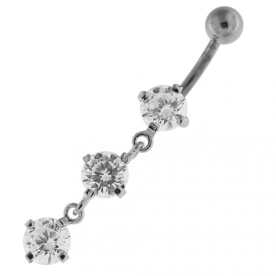 STERLING SILVER TRIPLE DIAMOND DANGLE BELLY BUTTON NAVEL RING