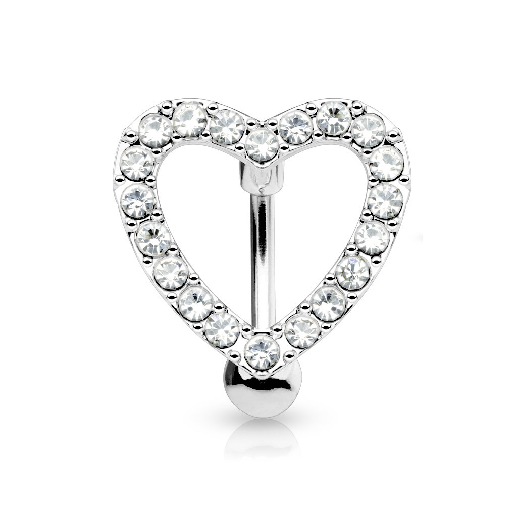 Silver Diamond Love Heart Reverse Navel Ring