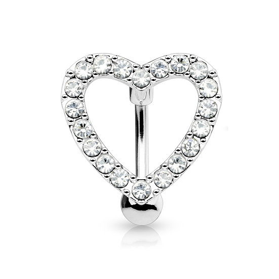 SILVER DIAMOND LOVE HEART REVERSE NAVEL RING