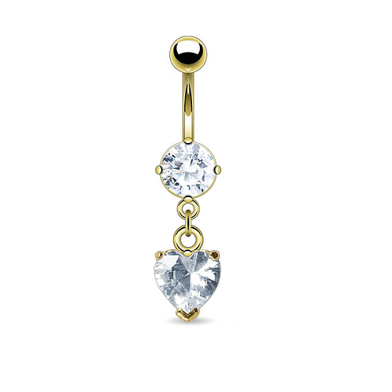 GOLD DIAMOND HEART DANGLE BELLY BUTTON RING