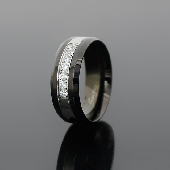 Black Stainless Steel Simulated Diamond Wedding Band