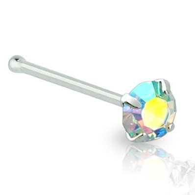 Sterling Silver Rainbow Aurora Borealis Nose Straight Pin Studs