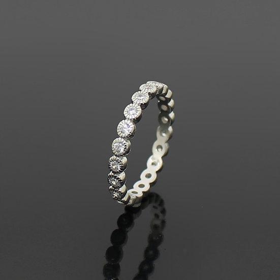 Diamond Rhodium Silver Dot Eternity Band Ring