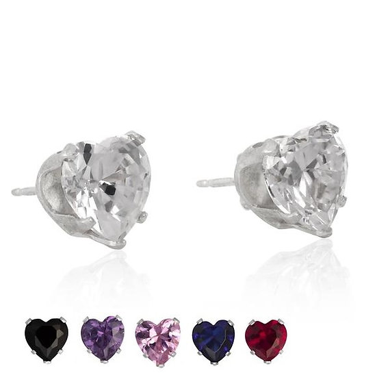 Sterling Silver Love Heart Stud Earrings