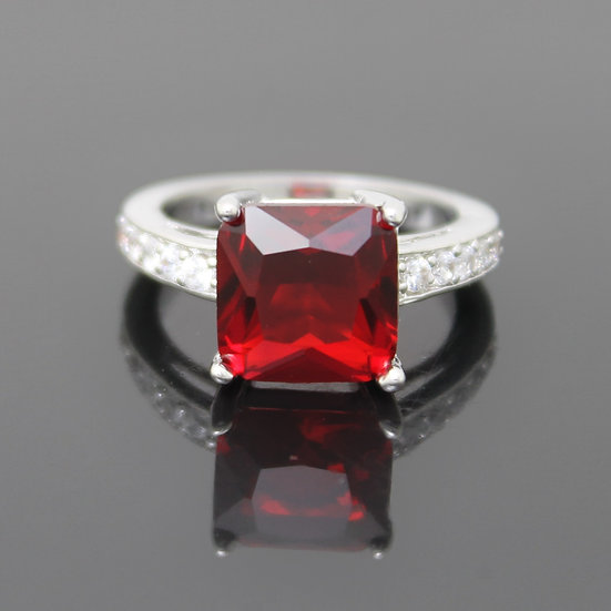 RUBY RED CZ SQUARE COCKTAIL STERLING SILVER PLATED RING