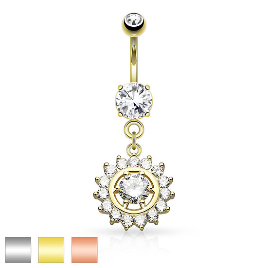 Diamond Round Halo Belly Ring