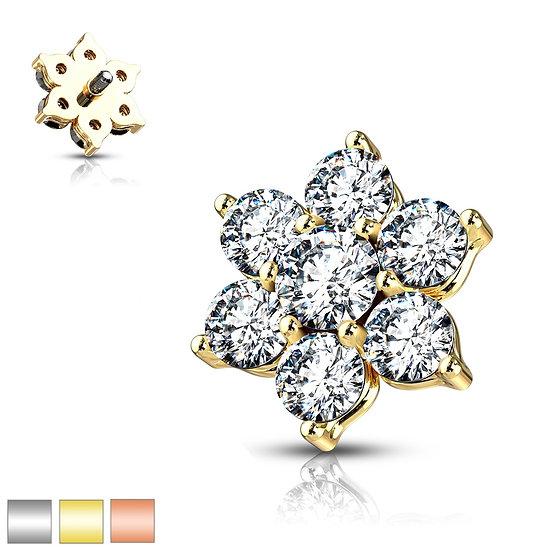 DIAMOND FLOWER DERMAL PIERCING IMPLANT TOP