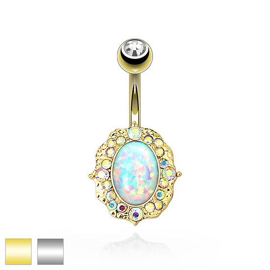 OPAL OVAL BELLY RING