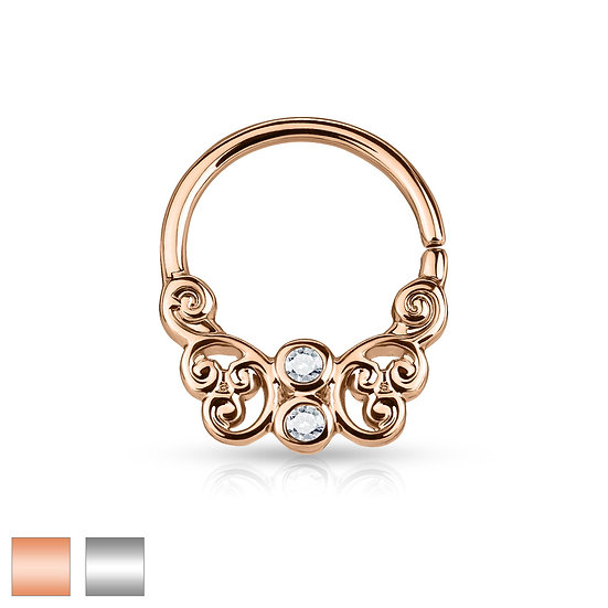 DIAMOND FILIGREE HOOP EAR SEPTUM RING JEWELLERY