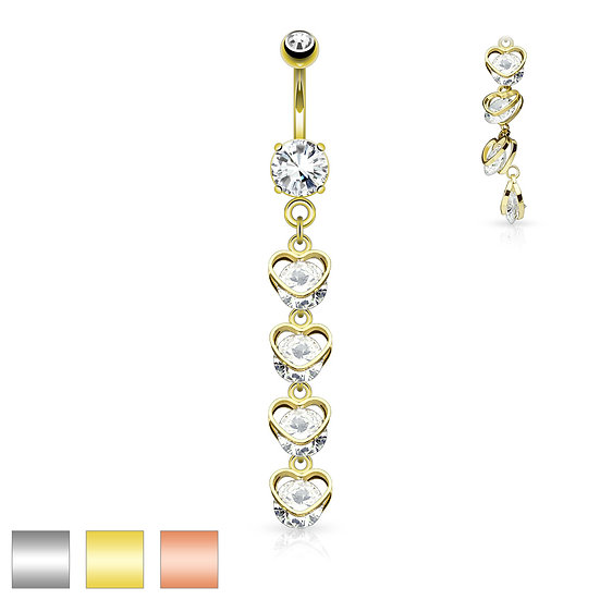 Four Heart Dangle Belly Button Ring