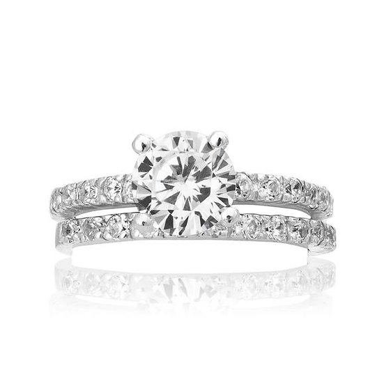 925 Sterling Silver Diamond Engagement & Wedding Band Ring Set