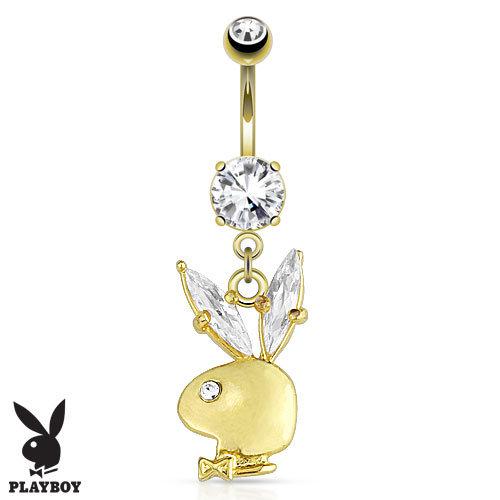 YELLOW GOLD PLAYBOY BUNNY DIAMOND BELLY NAVEL RING