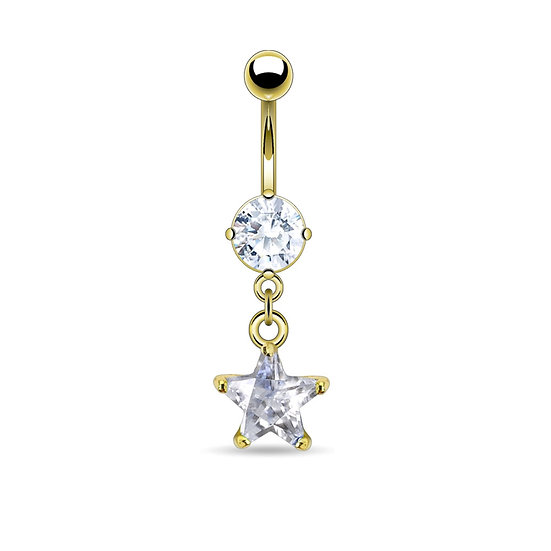 GOLD DIAMOND STAR DANGLE BELLY BUTTON RING