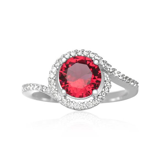 Sterling Silver Twisting Halo Ruby Red Cubic Zirconia Ring