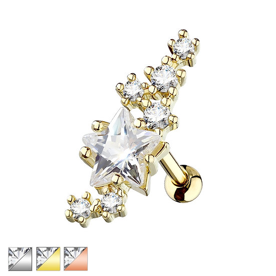 DIAMOND STAR CLUSTER CARTILAGE TRAGUS LABRET PIERCING STUD