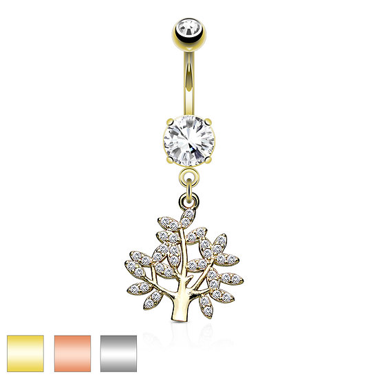 DIAMOND FAMILY TREE OF LIFE ROSE GOLD BELLY BUTTON NAVEL RING