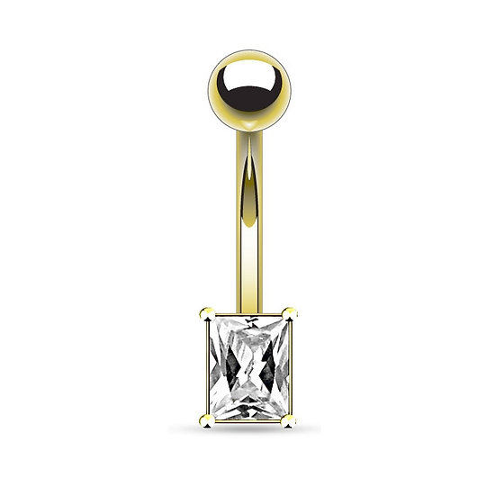 DIAMOND RECTANGLE GOLD BELLY BUTTON RING