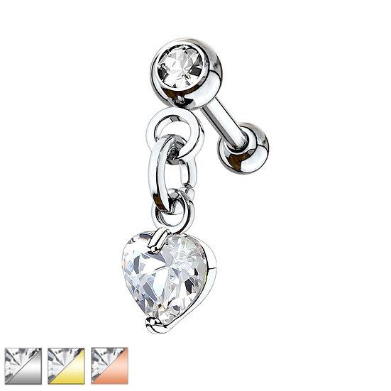 DIAMOND LOVE HEART CHARM CARTILAGE TRAGUS LABRET PIERCING STUD