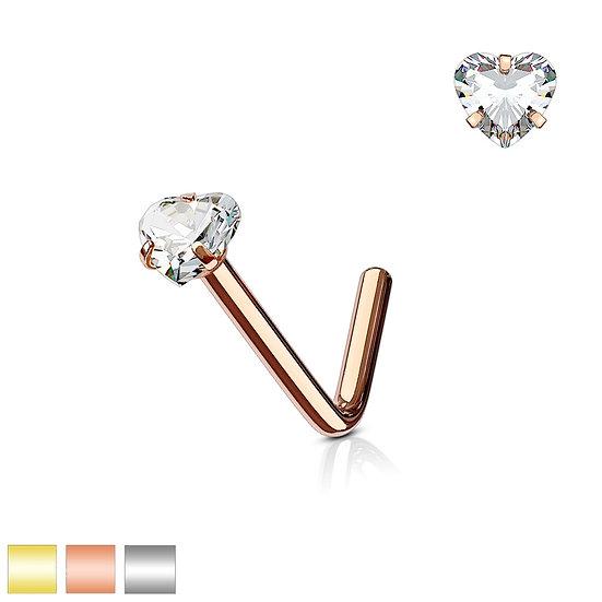 DIAMOND HEART L SHAPED BENT NOSE STUD