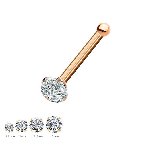 9CT ROSE GOLD DIAMOND NOSE PIERCING STUD