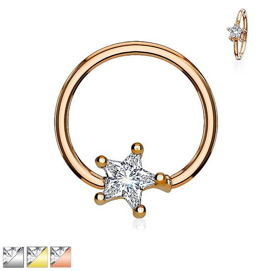 DIAMOND STAR NOSE SEPTUM BENDABLE HOOP RING