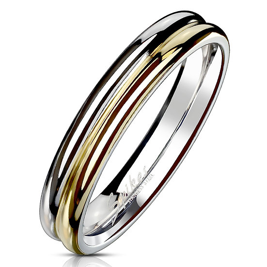 TWO TONE DOUBLE DOME YELLOW AND WHITE GOLD IP WEDDING BAND RING