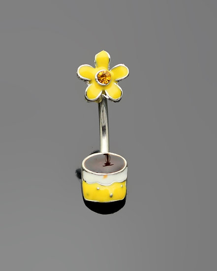 DAISY FLOWER POT NAVEL BELLY SURGICAL STEEL RING