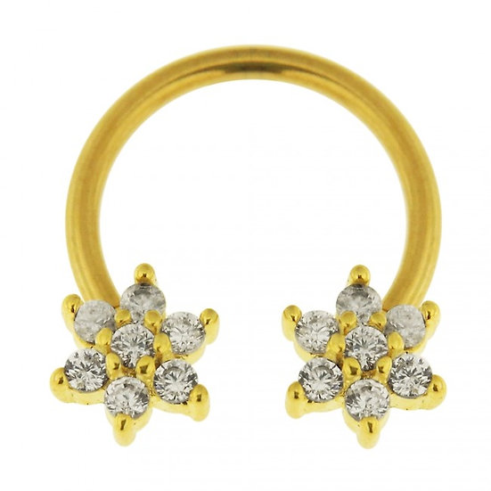 DIAMOND FLOWER SEPTUM GOLD CIRCULAR BAR RING